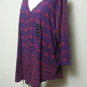 Lucky Brand New Plus size 3X 3/4 Sleeve Blouse